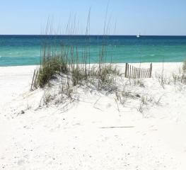 Beach scene at vacation rentals in Orange Beach and Gulf Shores, Alabama.